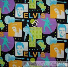 BonEful Fabric FQ Cotton Quilt Black Purple Green ELVIS Presley Face Music Block