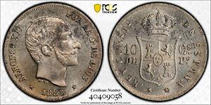 SPANISH PHILIPPINES 10 CENTAVOS 1885 PCGS MS63
