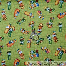 BonEful Fabric FQ Cotton Quilt VTG Green Veggie Tales Character Cartoon Boy Girl