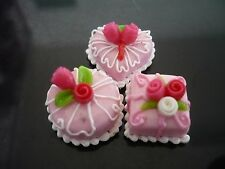 3 Mini Pink Cake Rose Top Dollhouse Miniatures Food Deco Bakery Valentine Day 5
