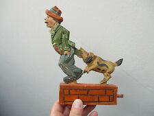 An Antique Vintage Black Forest Wooden Articulated ANRI- Dog Chasing Man -RARE!
