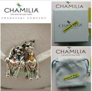 🐾🎁💘 Genuine CHAMILIA 925 Sterling Silver DISNEY LADY & TRAMP Dog Charm Set
