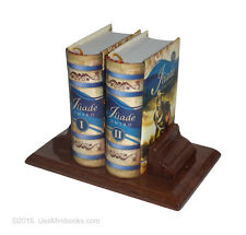Iliade Omero I and II in Italian miniature books set of 2 easy read with stand