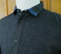 EUC DIESEL Mens M BLACK GRAY BLUE Embroidered L/S Button Front Geometric Shirt
