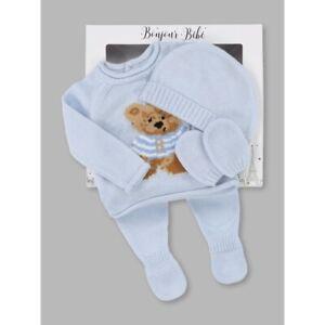 NEWBORN BABY BOY BLUE KNITTED OUTFIT & HAT TEDDY DESIGN PRAM GIFT SET BOYS 0-6M