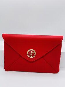 💕  Giorgio Armani Clutch Tasche Kosmetik  Pouch ROT Leder Edel Gold NEU  💕