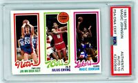 MAGIC JOHNSON/JULIUS ERVING/Kolff 1980 Topps Rookie RC Autograph PSA DNA 10 Auto