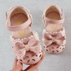 PU Leather Baby Girl Breathable Hollow Out Bow Shoes Children Toddler Sandals