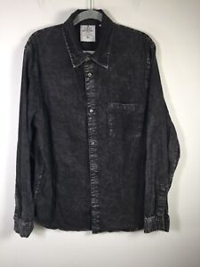 Cheap Monday mens Rude Denim button up shirt Charcoal concrete ice size XL