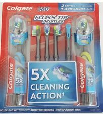 Colgate 360 Floss-Tip, 2 Battery Powered Toothbruses w replacment heads