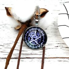Six star, five pointed star / Glass Tibet Silver Chain Pendant necklace