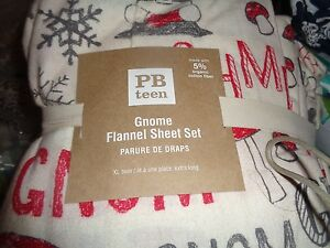 Pottery Barn Teen Reversible Gnome sheet set  twin flannel Christmas Holiday New