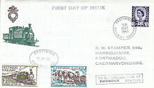 28 MAY 1969 5d WALES DEF FESTINIOG RAILWAY CARRIED FDC 2 RAILWAY LETTER STAMPS