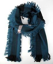 Burberry Azul/Negro Lana Bufanda Moda con Flecos y Rosa Rayas 40609901