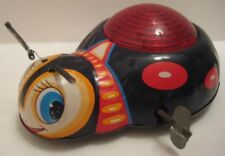 """Old Tin W Up Toy Lightning Bug w Sparking Mechsm 5"""" Kanto Japan 1950s Rare as is"""