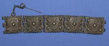 Antique Hand Made Ornate Floral Hinged Silver Bracelet