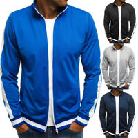 Plain Mens Hoodie Zip Up Jacket Outwear Sweatshirt Jumper Top Coats