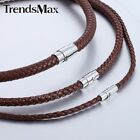 4/6/8MM Brown Braided Cord Rope Man-made Leather Necklace w/ Magnetic Clasp
