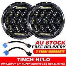 """Pair 7"""" inch Black For JEEP JK GQ PATROL Projector LED Headlight DRL Insert 75w"""