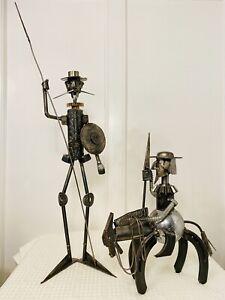 Rare Vintage Set Signed MICHEL JARRY Don Quixote & Sancho Panza Metal Sculptures
