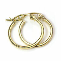 14mm 9ct Gold Square Tube Sleeper Hoop Creole Earrings / Creoles / Hoops