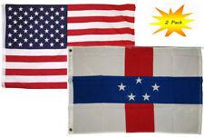 2x3 2'x3' Wholesale Set (2 Pack) USA American & Netherlands Antilles Flag Banner