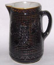 Vintage Stoneware Pitcher Rockingham Glaze Milk Pitcher Grapes Pattern TLC