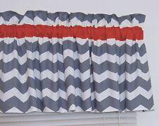 Red and Gray Chevron Window Valance Zig Zag Bedroom Bath Nursery Decor FREE SHIP