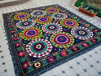 The bride's dowry Silk Suzani wall hanging Vintage Uzbek handmade embroidery