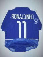 2002 World Cup Nike Brazil Ronaldinho #11 Dual Layer Jersey Shirt Brasil Away
