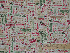 Home for the Holidays Words Candy Cane Christmas Fabric by the 1/2 Yard #25941