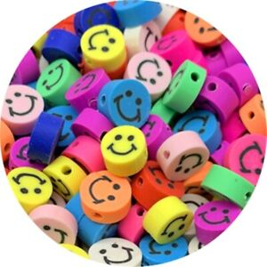 30pcs 10mm Smile-face Beads Oval Spacer Polymer Clay Beads For Jewelry Making