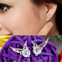 Fashion Crystal Angel Wings Ear Stud Earrings Jewelry for Womens Ladies Gift