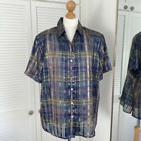 Vintage Dressbarn Shirt Size L / XL Checked Iridescent Button Up Blouse Sheer