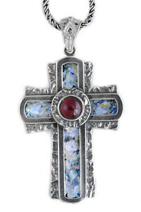 Unusual 925 Sterling Silver Ancient Roman Glass Cross  Garnet Pendant