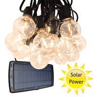 G40 Solar Powered 25 ft Outdoor Patio Globe String Lights Bistro Yard Decoration