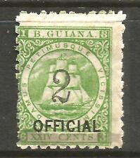 BRITISH GUIANA 1881  2 on 24c  SHIP  OFFICIAL   MH   SG 159