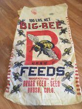 Vintage Big Bee Feeds Brush Colorado Cloth Bag  Advertising