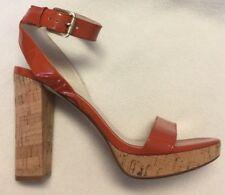 New Michael Kors Orange Patent Strap Cork Heels Sandals Ankle Strap sz 10 M