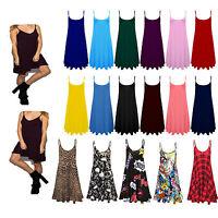 Womens Plain Printed Cami Ladies Summer Swing Mini Dress Top Plus Size vest 8-26