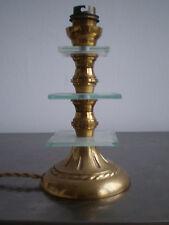 PIED DE LAMPE BRONZE ET VERRE DECO DESIGN 1950 LAMPE LUMINAIRE ANCIEN TBE