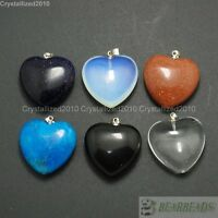 Natural Gemstones Heart Reiki Chakra Healing Pendant Beads Jewelry Craft Pick
