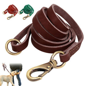 5ft Leather Dog Leash for Large Dogs Training with Control Handle Traffic Leads