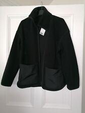H&m Hennes Black Fleece Jacket Shacket Brand NEW Size XS Extra Small Bnwt