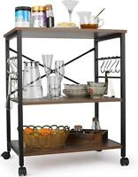 3-Tier Microwave Oven Cart Bakers Rack Kitchen Storage Shelves Stand Metal Black