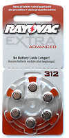 New Mercury Free 60 Rayovac Extra Advanced Hearing Aid Batteries, SIZE 312