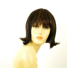 perruque femme 100% cheveux naturel carré méchée noir/cuivré FRANCOISE 1b30