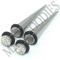 0558 Fake Cheater Illusion Faux Stretchers Tapers Plugs 2G = 6mm Steel Clear CZ