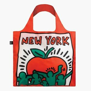 LOQI Red Tote Bag of New York Reusable Shopping Travel Bag with a zipped pouch