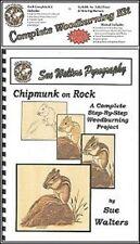 """LIBRO PER LA PIROGRAFIA  """" CHIPMUNK ON ROCK """" DI SUE WALTER COMPLETO DI KIT"""